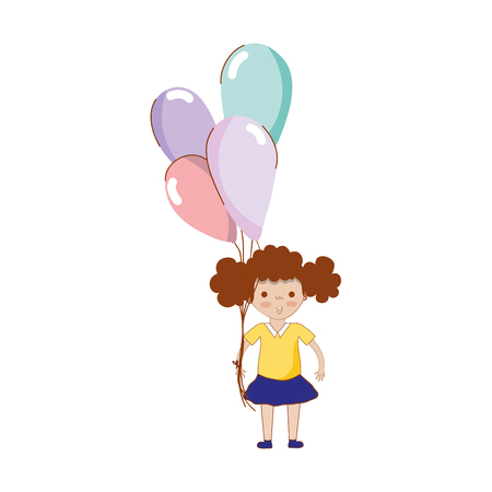 human face: cute girl with balloons in the hand Illustration