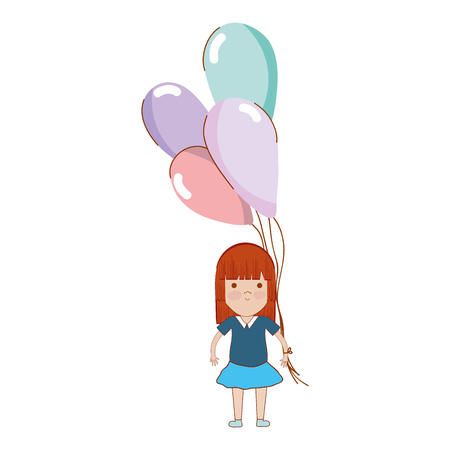 nice girls: cute girl with balloons in the hand Illustration