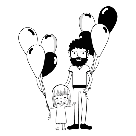 human face: contour father with his daughter and balloons