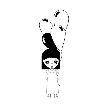 human face: contour cute girl with balloons in the hand Illustration