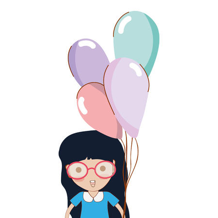 human face: Cute girl with balloons in the hand