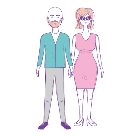 nice couple with hairstyle and elegant wear, vector illustration Illustration