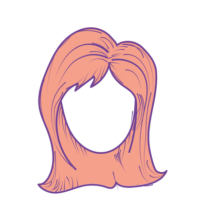 cute woman face with hairstyle, vector illustration