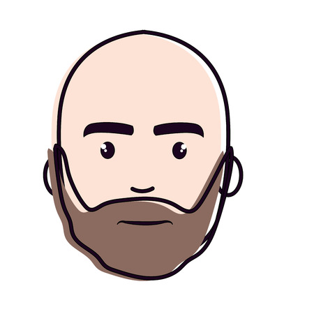 nice face man with beard and bald, vector illustration