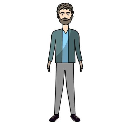 handsome man with beard and elegant wear, vector illustration Illustration