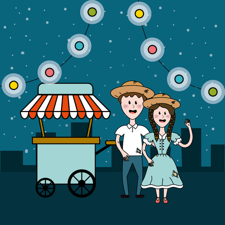 brazilian people celebrating with fast food car and chain bulbs, vector illustration
