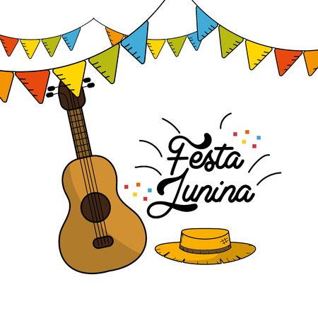 festa junina with guitar and hat with flags party, vector illustration