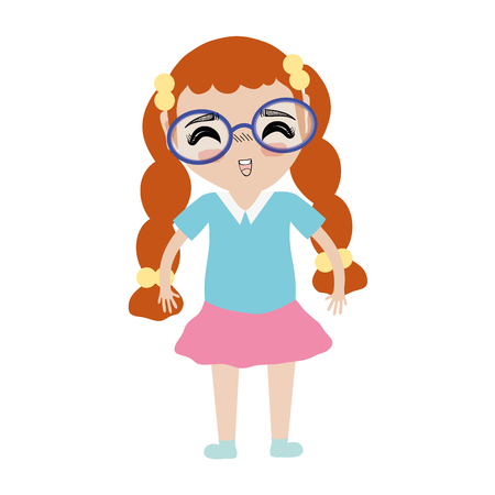 nice girls: pretty girl with glasses and casual clothes Illustration