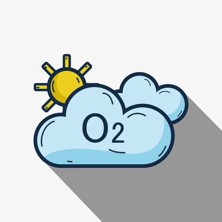 cute clouds with o2 and sun Illustration