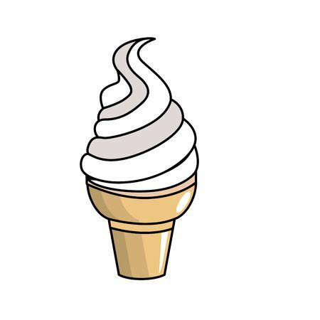 cornet: tasty ice cream in the cornet, vector illustration Illustration