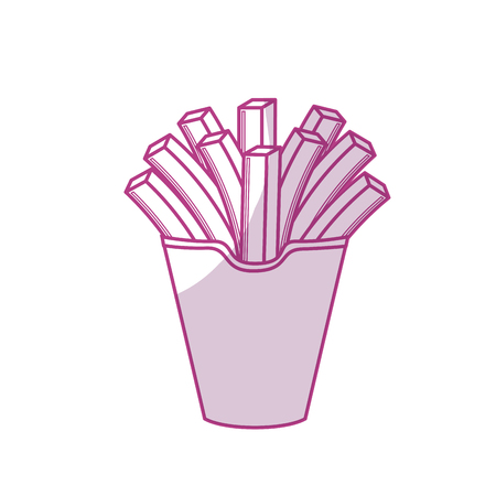 frites: silhouette delicious fries french fast food meal, vector illustration