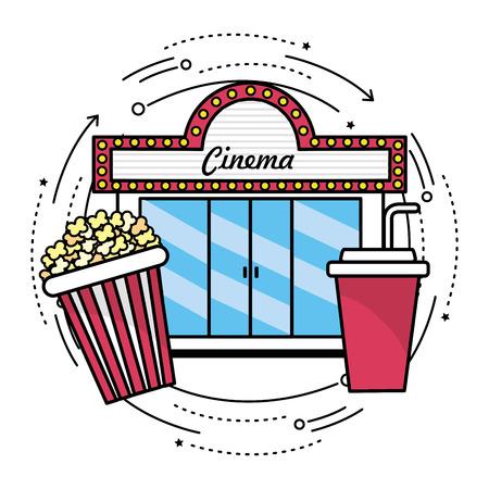 cinema with popcorn and soda snack, vector illustration