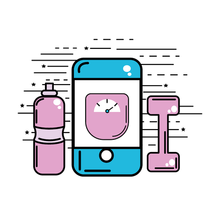 smartphone with weight inside and dumbbell with water bottle Illustration