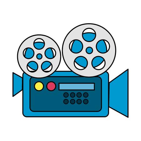 filmcamera naar projectiescène, vectorillustratie