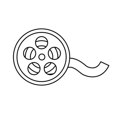 lijnrolscène om de film in het theater, vectorillustratie te projecteren