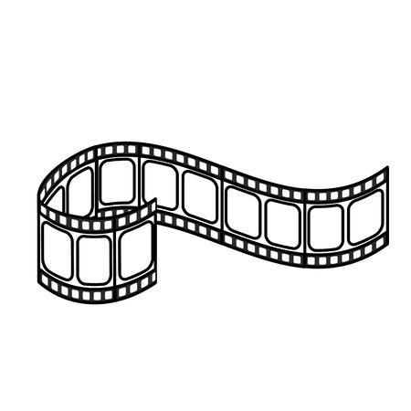 lijn filmstrip naar studio scene in projectie, vector illustratie