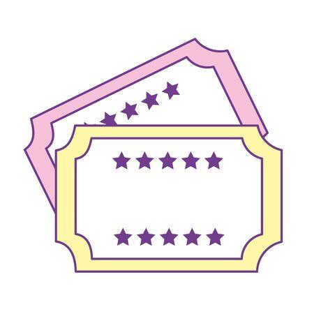 Stickers om in het theater te komen, vectorillustratie Stock Illustratie