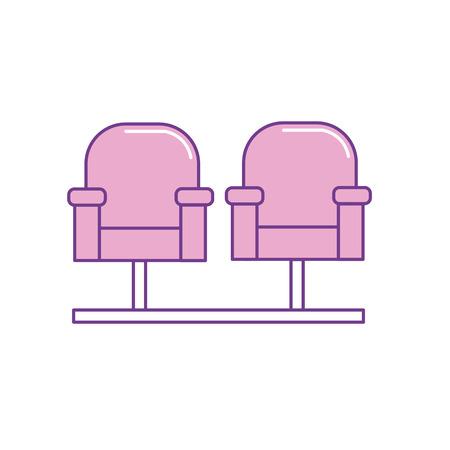 Bioscoop stoel om filmscène, vectorillustratie te bekijken Stock Illustratie