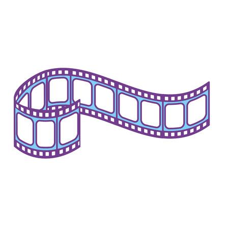 Filmstrip naar studio scene in projectie, vectorillustratie