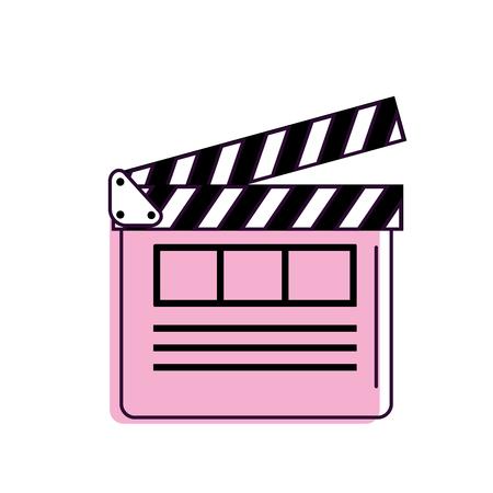 clapperboard to short film projection studio, vector illustration Illustration
