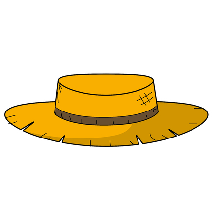 cute pesant hat to use in the farm work vector illustration Ilustrace