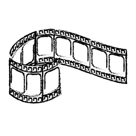 figure filmstrip to studio scene in projection, vector illustration