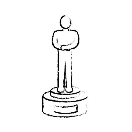 figure prize to cinematography producer film, vector illustration