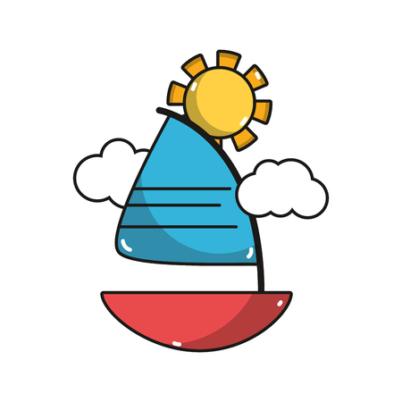 cute sailing boat with clouds and sun
