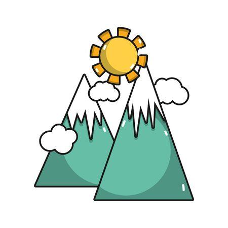 Besneeuwde bergen met wolken en zon Stock Illustratie