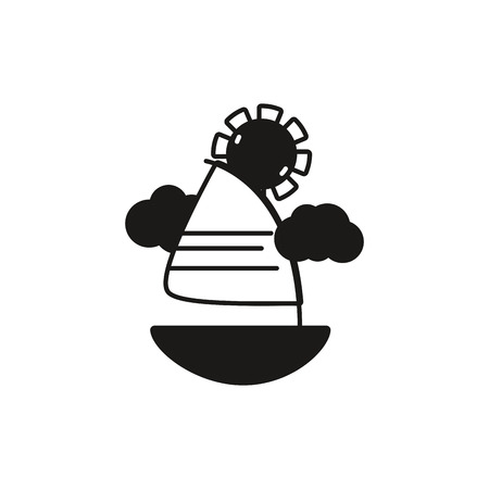 flotation: contour cute sailing boat with clouds and sun Illustration