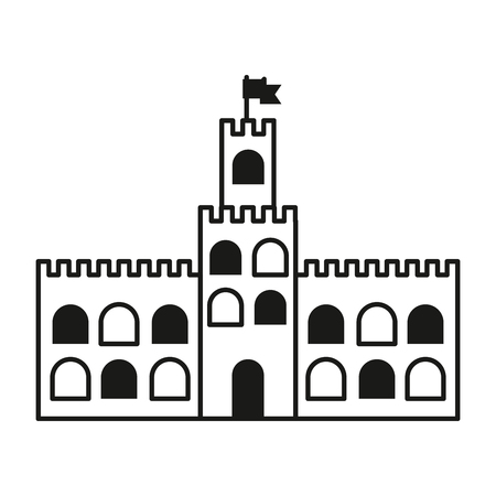 beuty: contour castle built on an kingdom to protect them vacation vector illustration