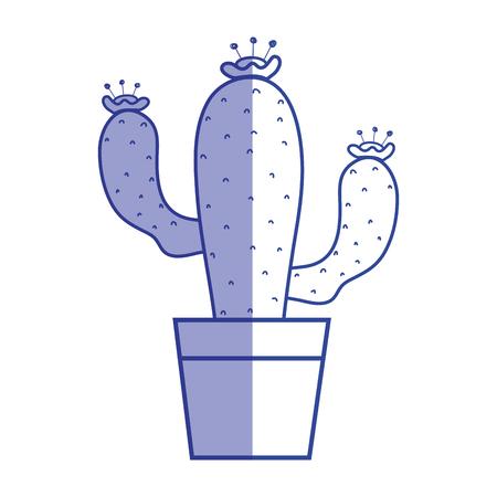 silhouette cactus plant with flower inside of flowerpot vector illustration Illustration