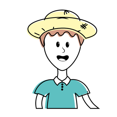 nice man with hat and t-shirt Illustration