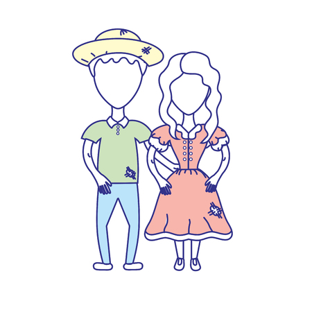 group of young adults: cute brazilian couple with hat and typical clothes vector illustration
