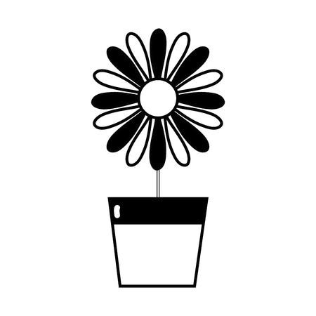 contour sunflower with petals inside to flowerpot