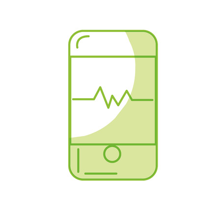 using smart phone: silhouette technology smartphone with cardiac rhythm vector illustration