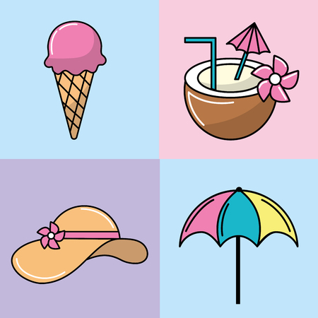set ice cream and refreshment with coconut and umbrella with flip flop