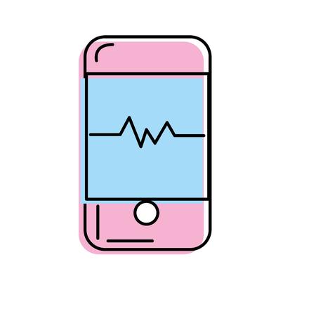 using smartphone: technology smartphone with cardiac rhythm vector illustration Illustration