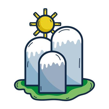 besneeuwde bergen met zon weer vectorillustratie