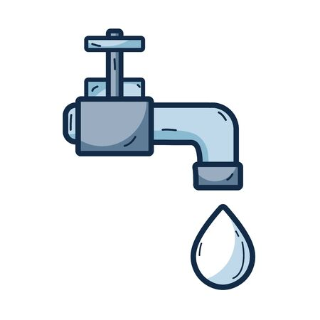 recycling campaign: faucet with drop of water to ecology conservation vector illustration