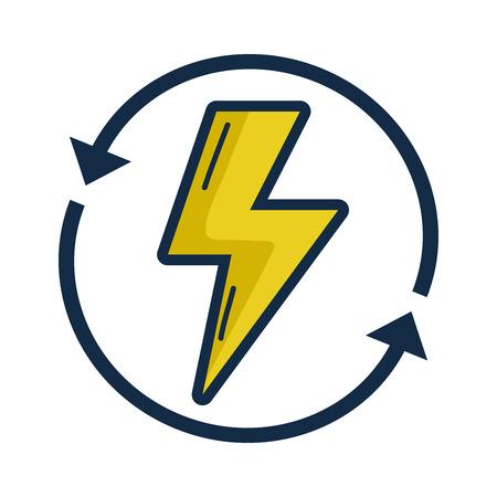 Energiegevaarsymbool met pijlen rond vectorillustratie Stock Illustratie