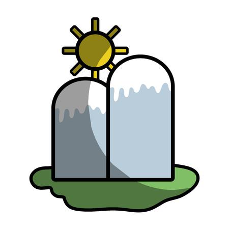 besneeuwde bergen met zon weer