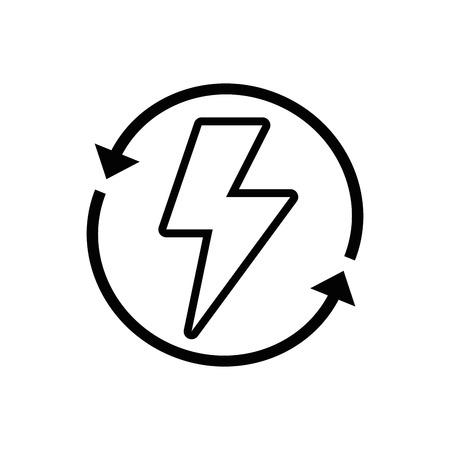 Lijnontwerp van het energiegevaarsymbool met pijltjes in de buurt Stock Illustratie