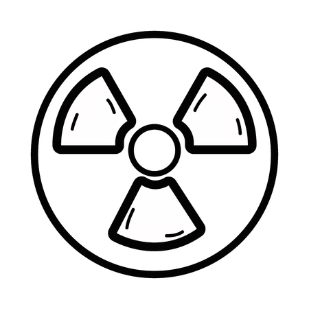 irradiation: Line design of radiation symbol to dangerous and ecology contamination