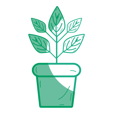 silhouette plant inside flowerpot to ecology preservation Illustration
