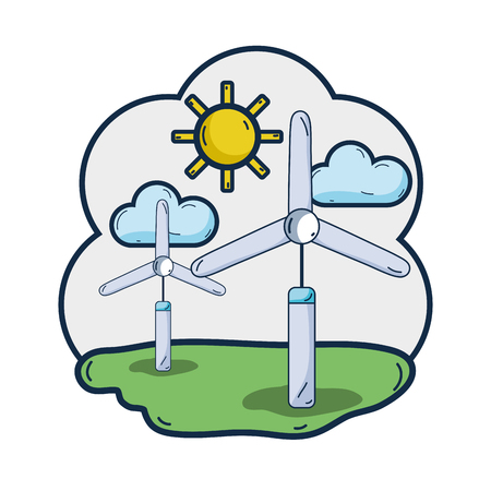 windpower industries to healp the environment Illustration