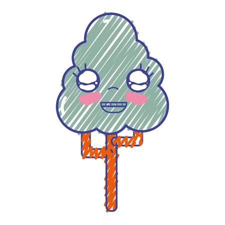 personage: kawaii cute happy tree ecology