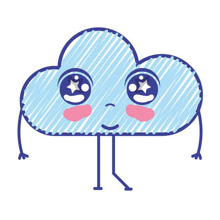 personage: kawaii nice tender cloud with arms Illustration