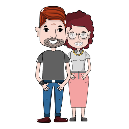 nice couple with hairstyle and casual clothes