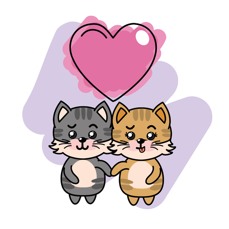 cute couple of cats with heart